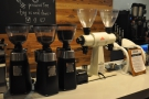 ... followed by its three espresso grinders (two blends and decaf).