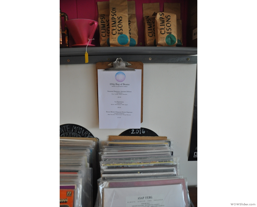 (Almost) everything sold by The LP Cafe: coffee (top) and LPs (bottom).