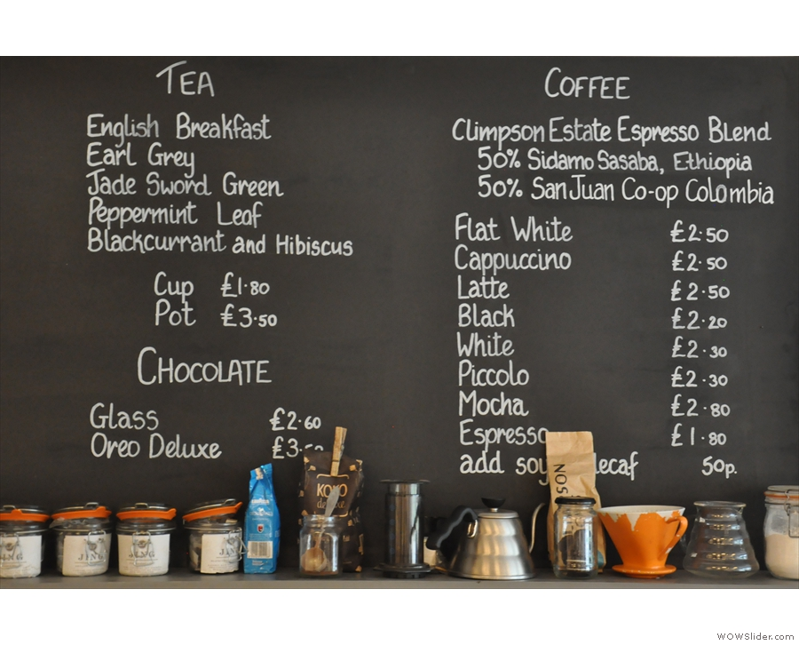 The menu is handily placed on the wall behind the counter. Here's the tea and coffee...