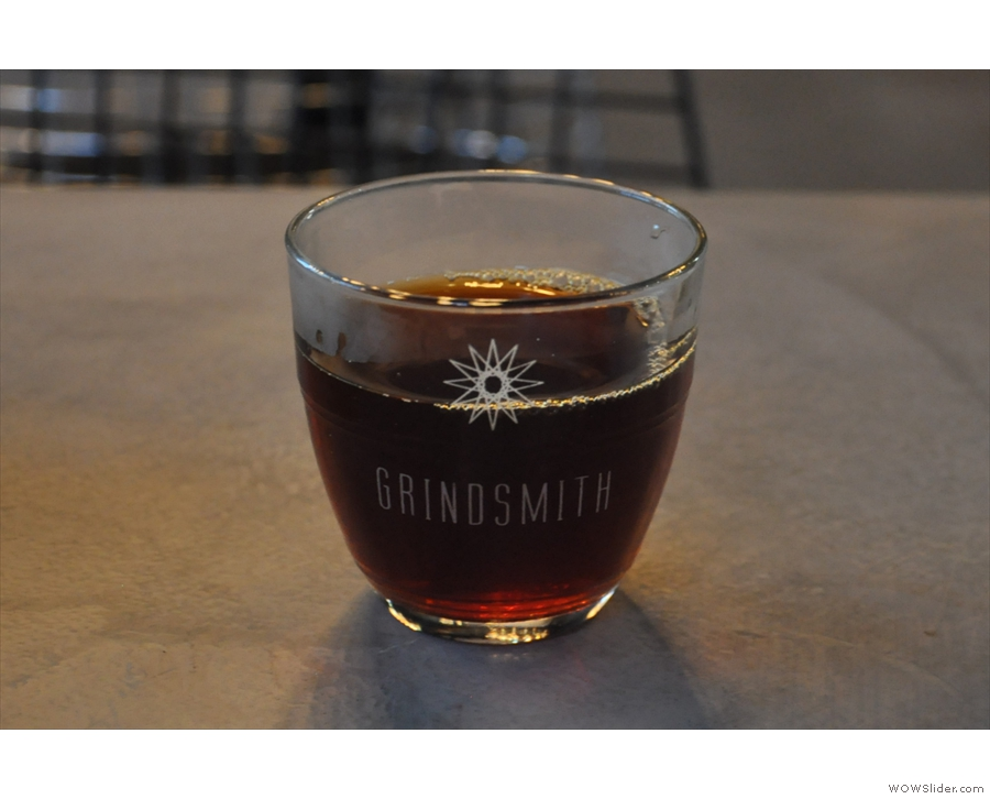 My coffee, in a very lovely Grindsmith glass...