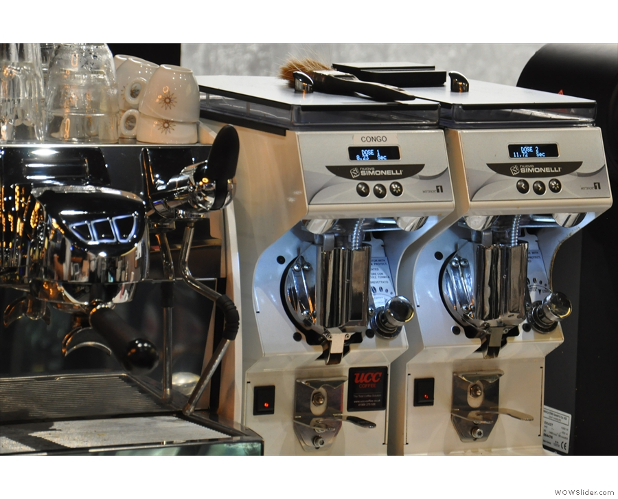 There are also two Mythos 1 grinders, one for the single-origin espresso & one for decaf.