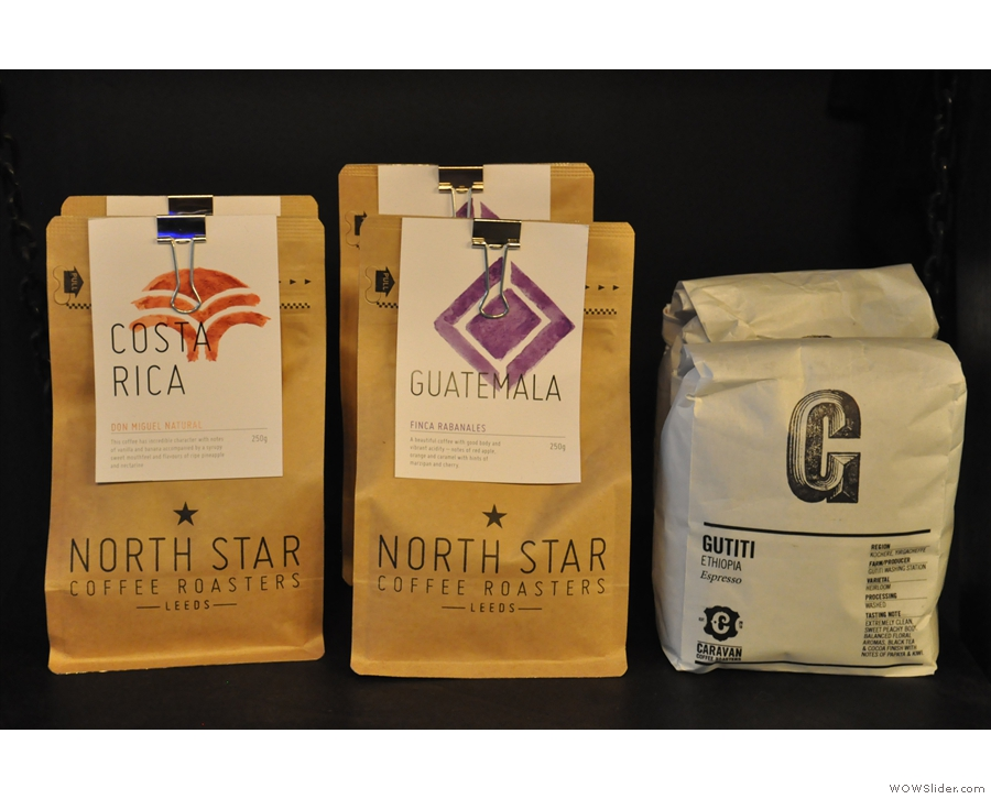 Some of the coffee, including filter options from North Star and Caravan.