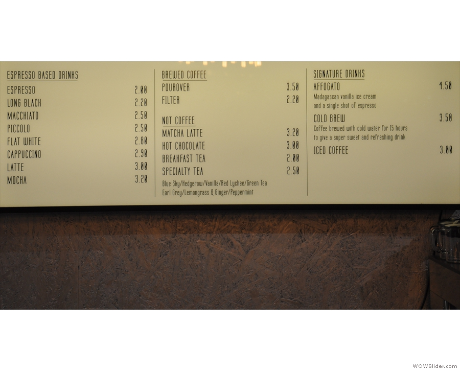 The drinks menu, including a concise coffee section and an even more concise not-coffee bit.