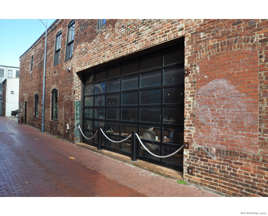 La Colombe's long side runs down this alley, complete with roll-up windows (when it's nice).