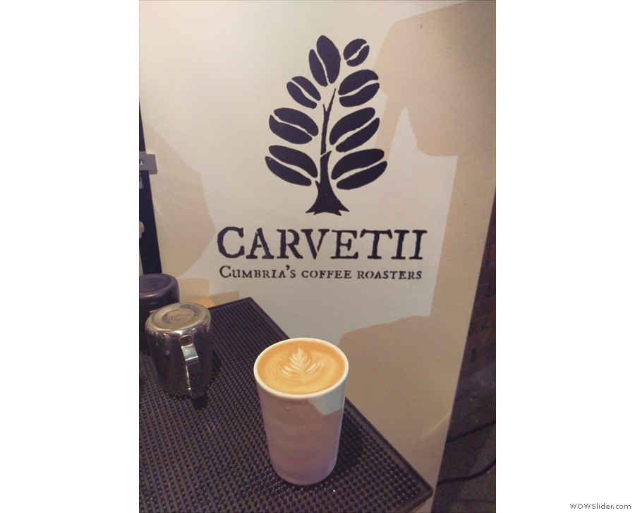 ... and wandering over to Carvetti for a first coffee of the Festival, in my Thermacup.