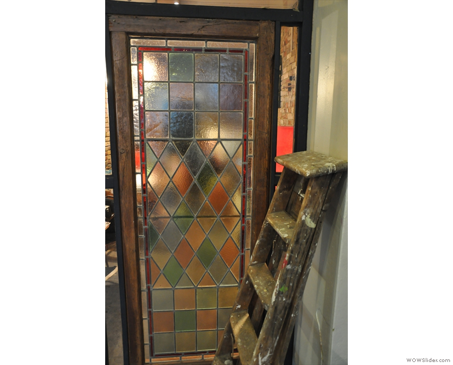 I loved the stained glass in the partition.