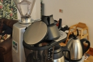 ... and a Bonita batch brewer next to the grinder for the filter.