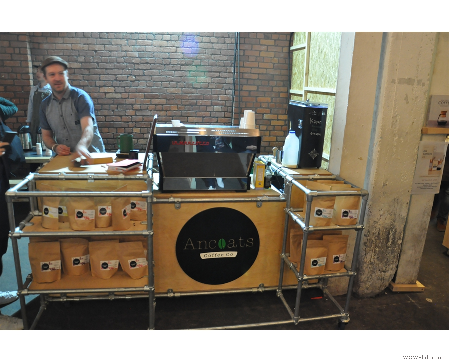 Finally, time to call in on Manchester's Ancoats Coffee Co. And it's Mani behind the machine.