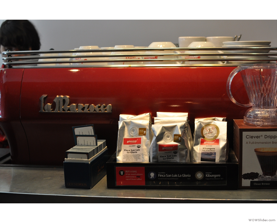 The La Marzocco was a pleasing shade of red. Both coffee & Clever-drippers are for sale.