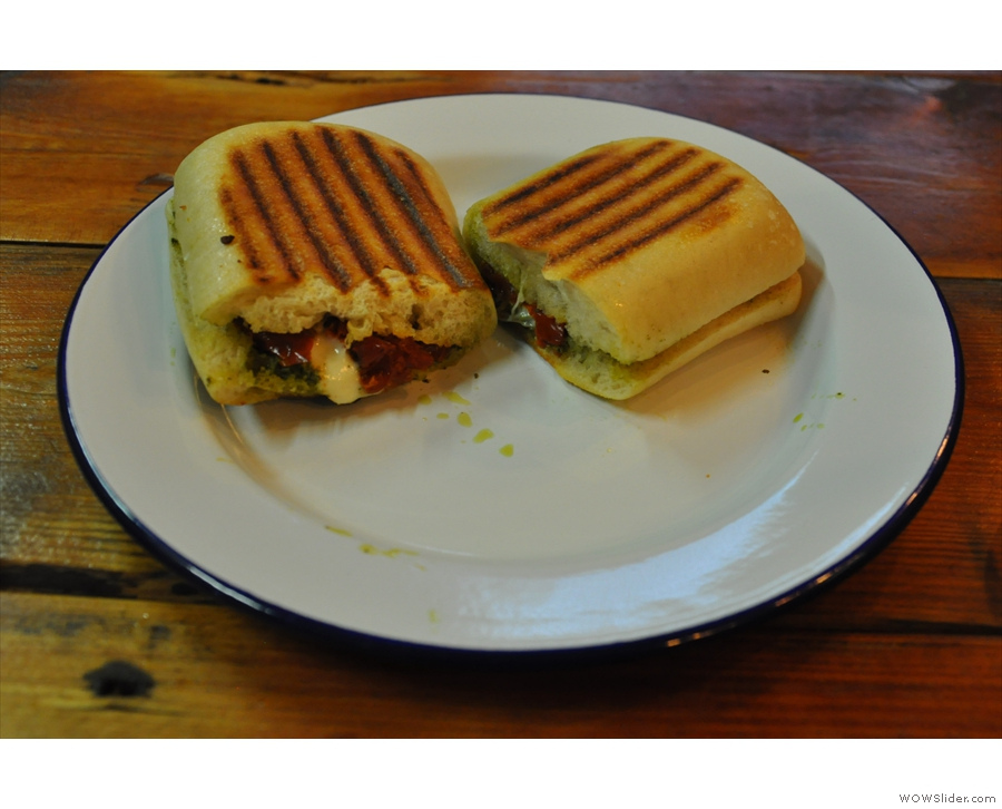 For lunch itself, a very fine toasted pesto, mozzarella and sun-dried tomato panini.