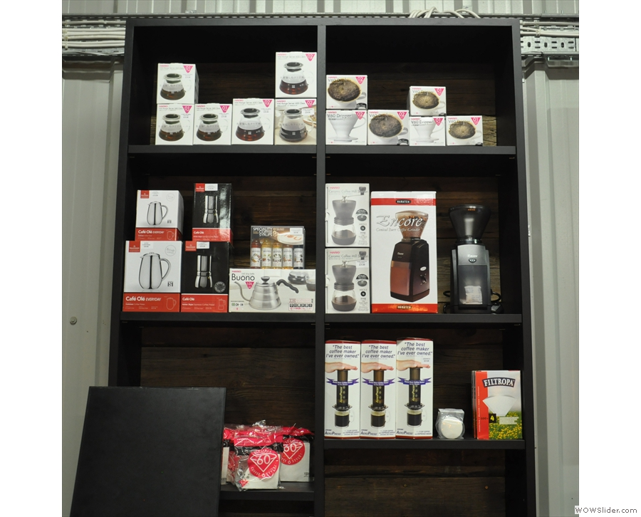 There's a set of shelves for coffee kit, plus a list of the (~15) different coffee ManCoCo roasts.