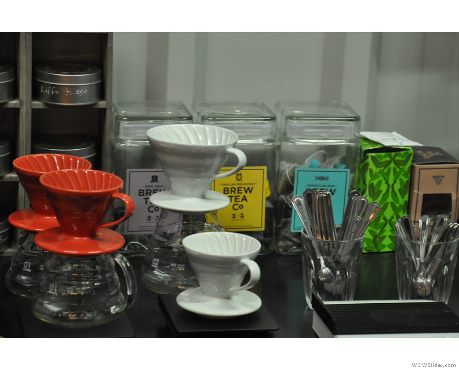 There are V60s galore and there's even tea from the local Brew Tea Co.