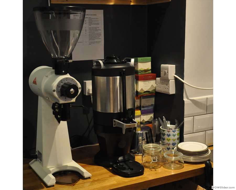 At the back, beyond the counter, is the EK-43 grinder and bulk-brewer for filter coffee.
