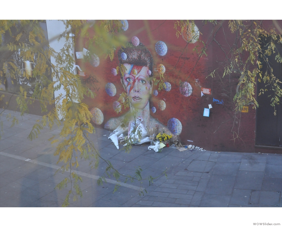 Before we go downstairs, the view from the window of the Bowie Mural across the road.