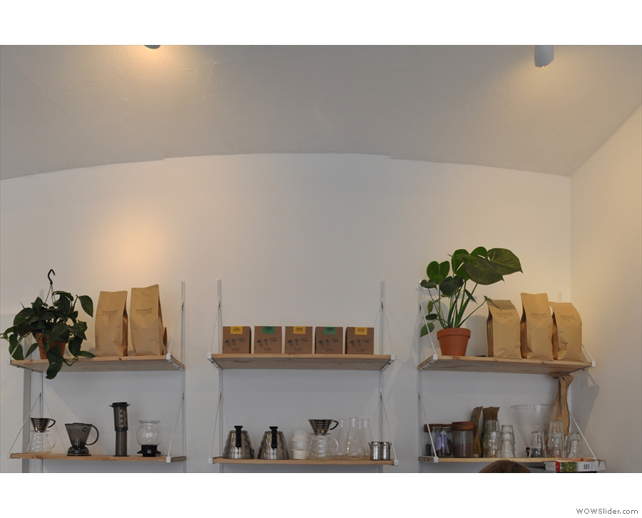 ... while the shelves behind/above the counter hold the pour-over options.
