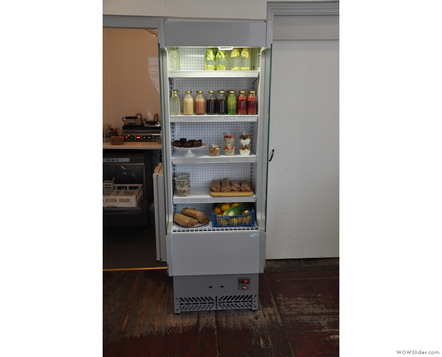 At the back, to the left of the counter, is this chiller cabinet, with breakfast & lunch options.
