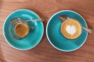Espresso on the left, piccolo on the right.