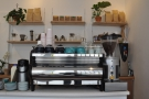 The espresso side of things is handled by this La Marzocco Strada...
