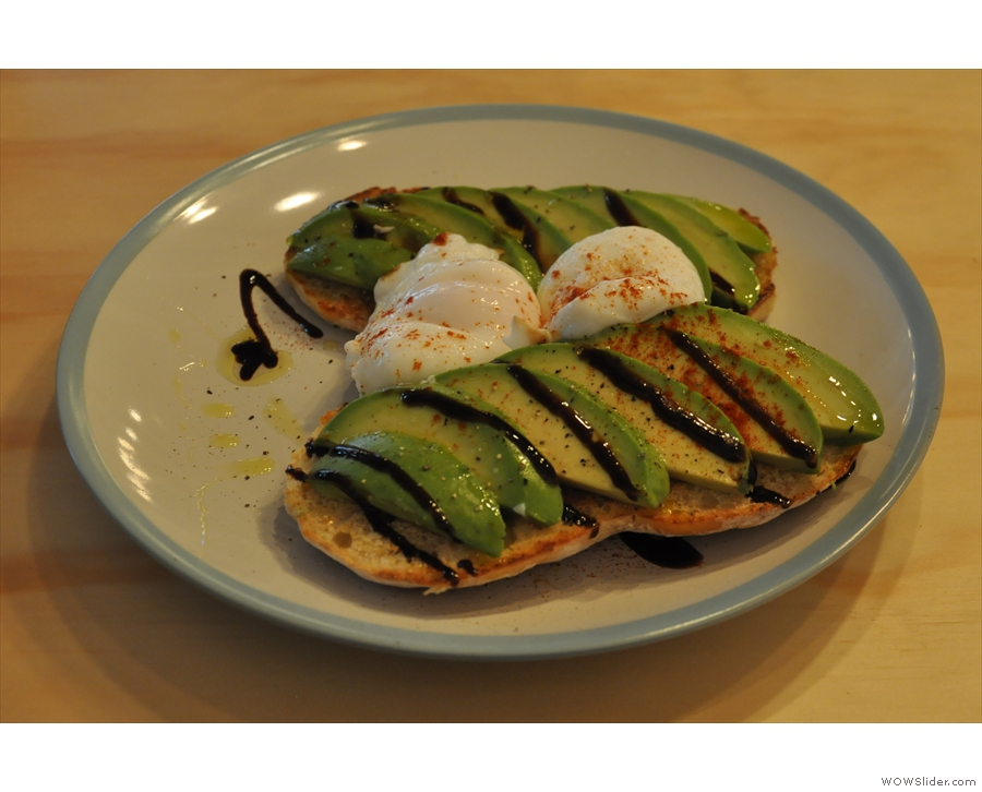 ... whiich accompanied my breakfast of poached eggs and avocado on toast.