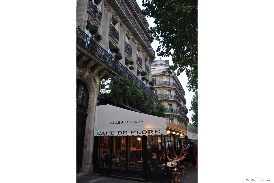 The Cafe de Flore as I normally approach it from the west along Bouvelard Saint-Germain (from 2011)