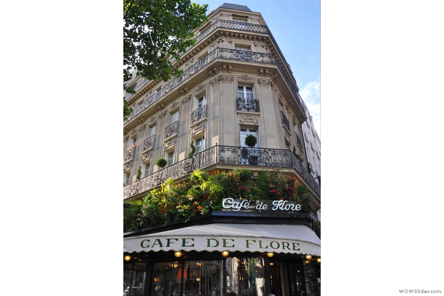 Cafe de Flore, on the corner of Bouvelard Saint-Germain and Rue Saint-Benoit as seen in June 2012