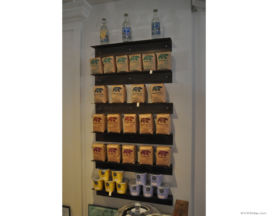 The coffee shelf: the alternative to looking at the menu to see what's on!