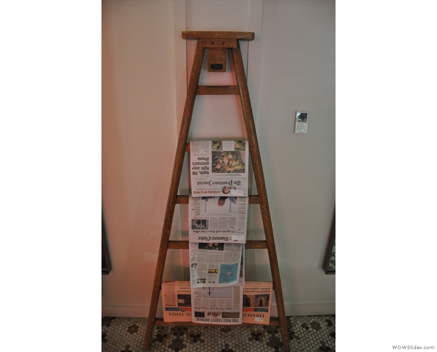 Neat use for a step-ladder. This stands between the two mirrors.