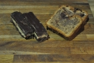 Let's set them free, shalll we? Millionaires' shortbread (left), banana bread (right).