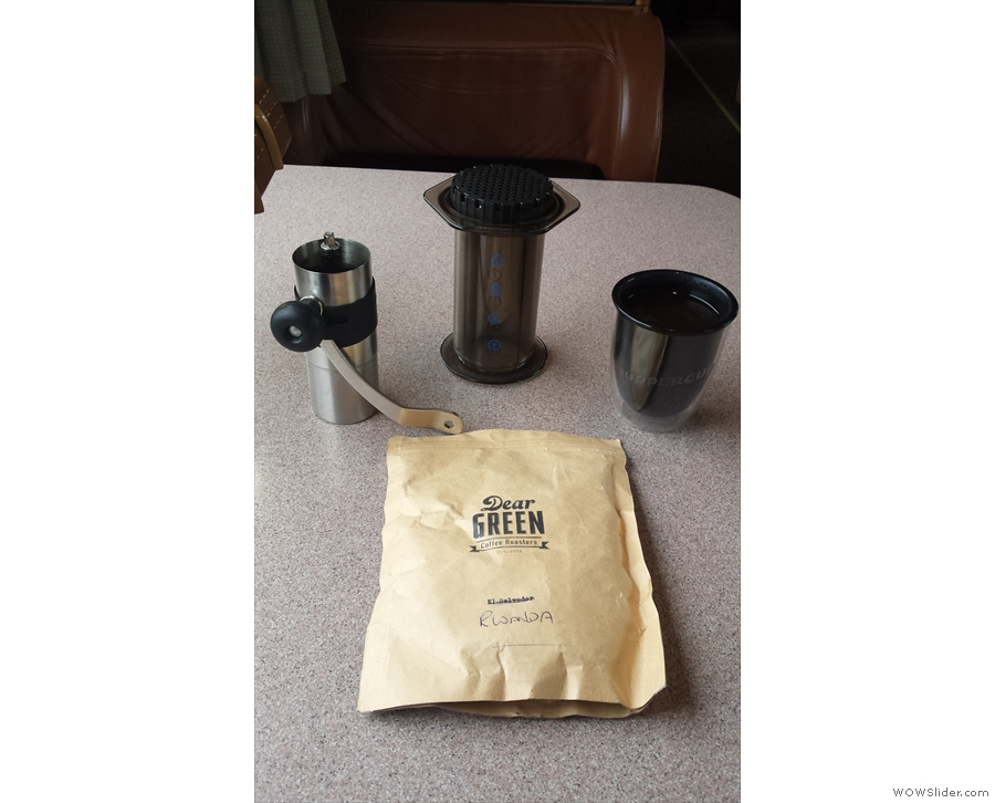 Moving onto plastic cups, my UPPERCUP has been on many trips with me, including this one to Seattle, seen here on the Amtrak train from Portland.