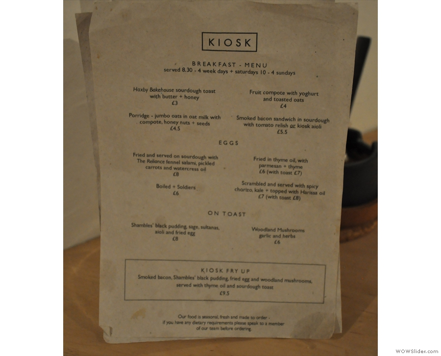 For somewhere so small, Kiosk does amazing food. This is the all-day breakfast menu...