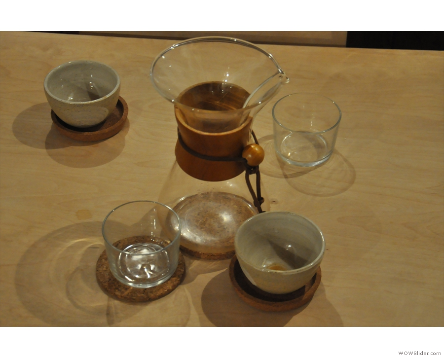 As well as espresso, Kiosk does pour-overs including Chemex (for two), as seen here...