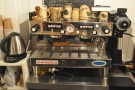 The espresso machine, with the versatile EK-43 doing all the grinding.