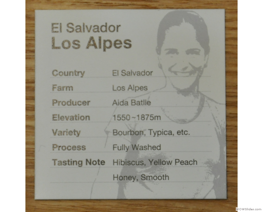These include a picture of the farmer and details such as region, etc, as well as tasting notes.