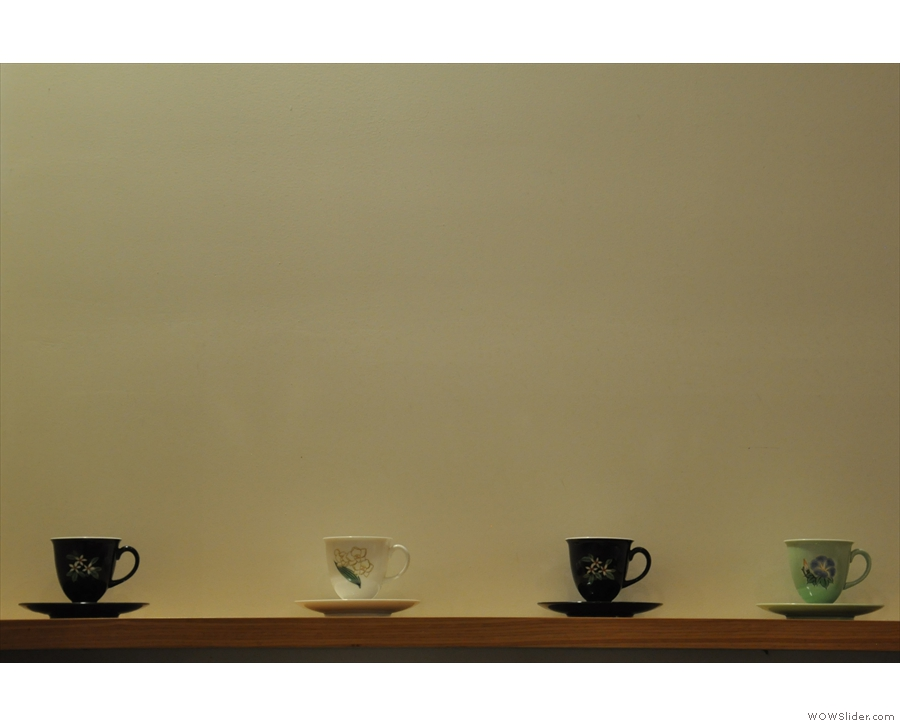 The cups were a big feature of Ogawa. These were on display on a shelf.