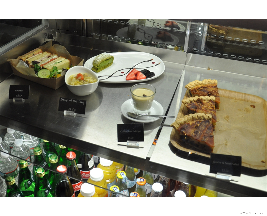 There are various savoury breakfast and lunch options...