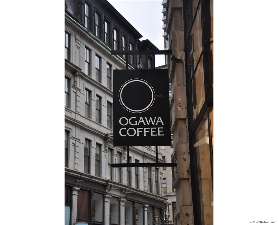 The sign you get that you've found Ogawa on Boston's Milk Street is the sign...