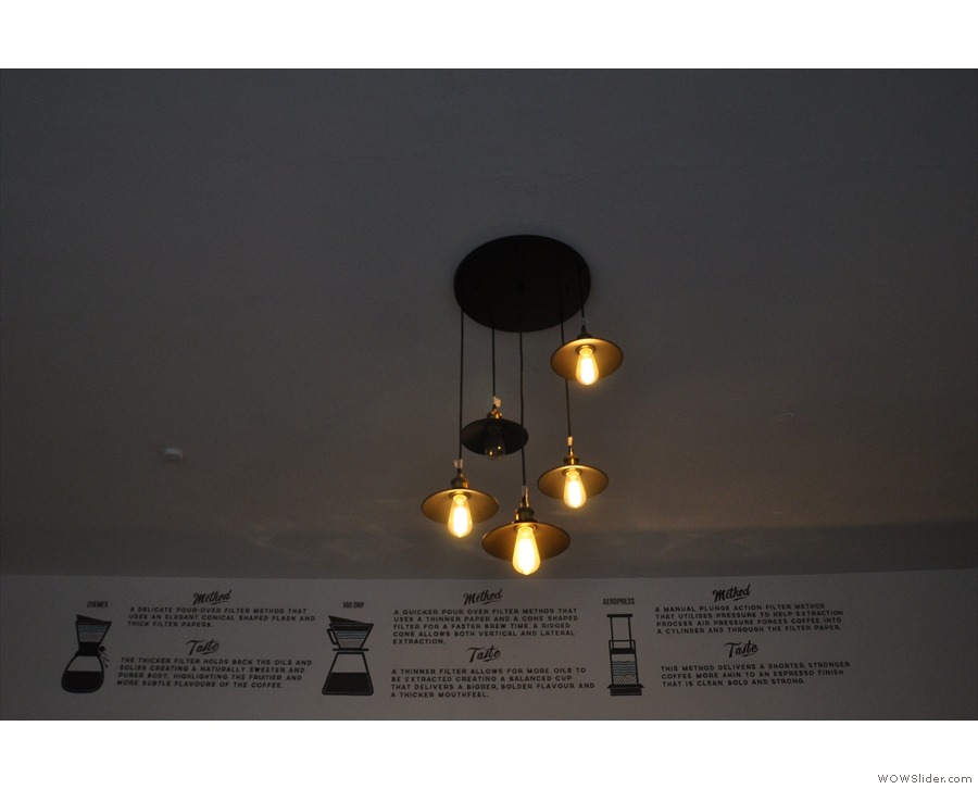 Wainwright's also has lots of lights. These, for example, hang from the middle of the ceiling.