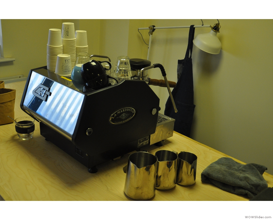 Meanwhile, there is a well-equipped training suite opposite, with a one-group La Marzocco...