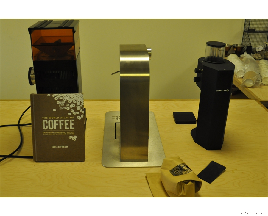 ... and a filter-station, complete with grinder, water boiler and Marco SP9.