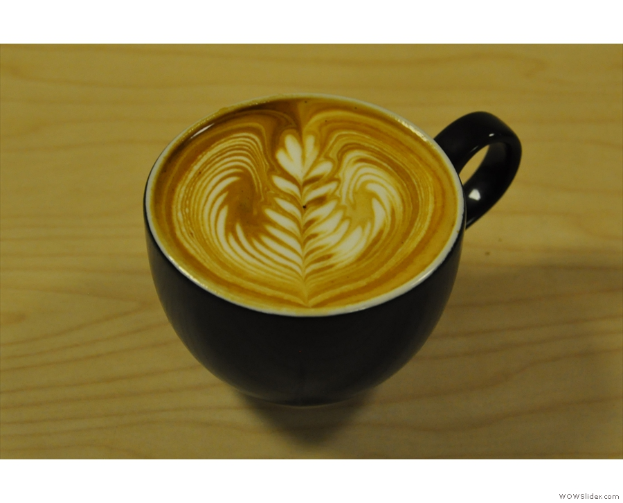 Moving swiftly on, there was, of course, coffee, coming in the form of this lovely flat white.