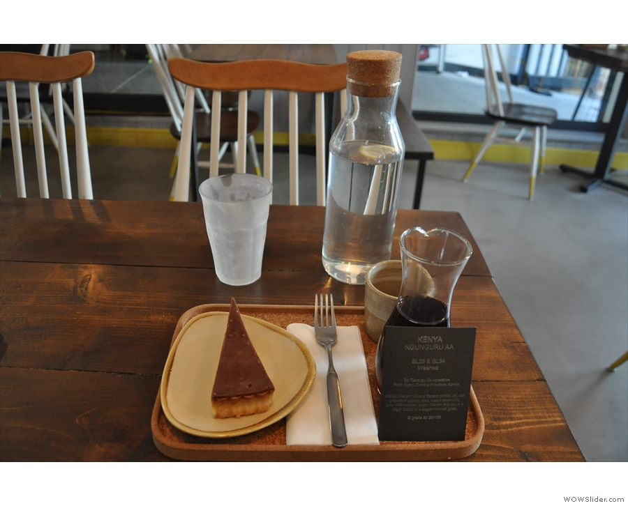 Here's the pour-over itself, beautifully presented on a tray, complete with carafe of water.