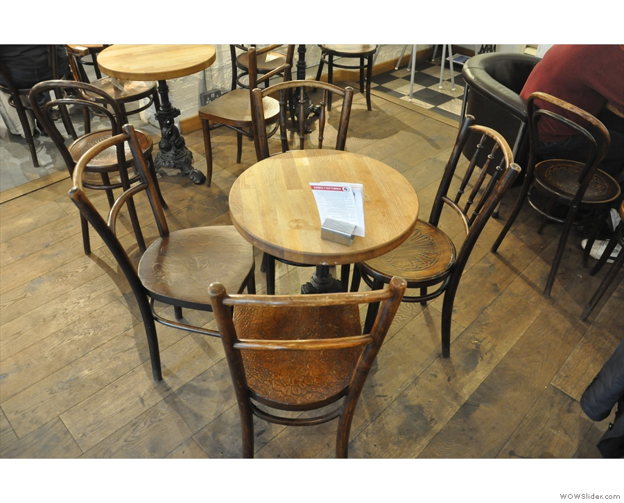 However, this is the bulk of the seating: round, three- or four-person tables.