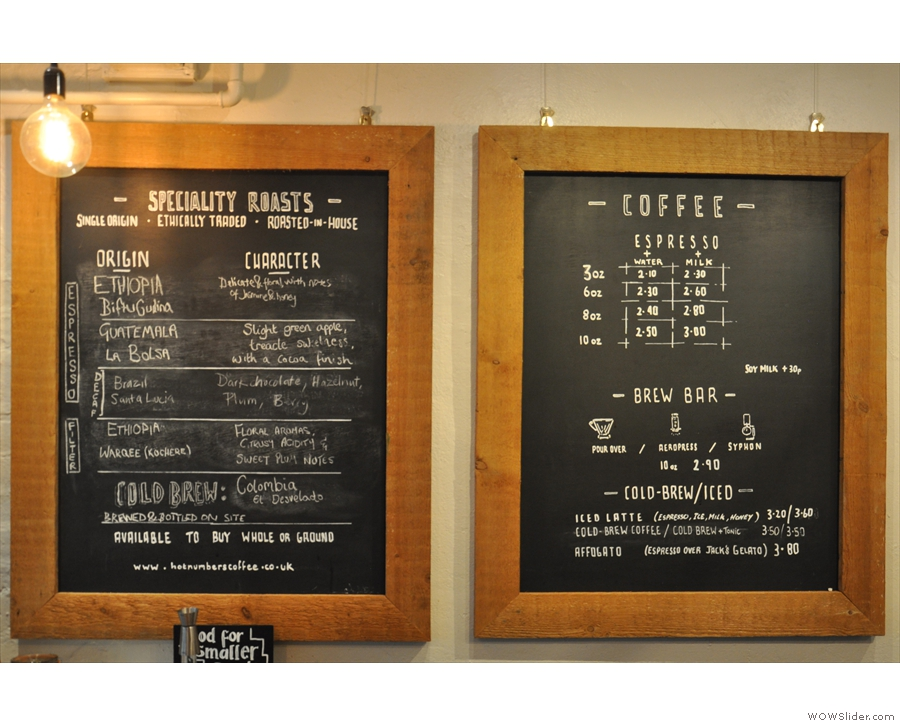 The coffee menu is clear and concise, with names dispensed with in favour of sizes.