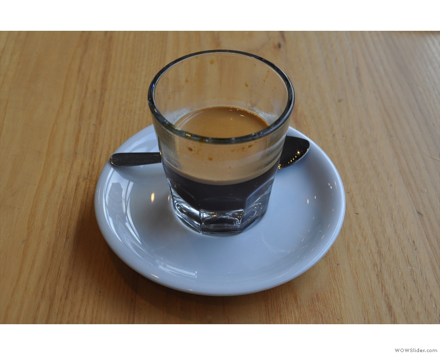 My espresso, an Ethiopian Guji from Tandem, served in a glass.