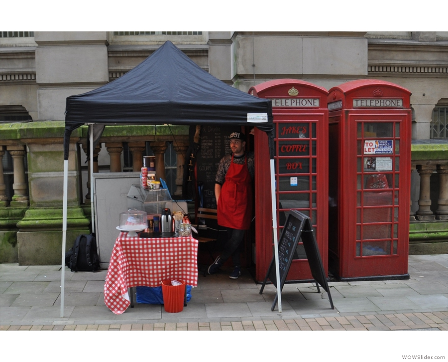 Located in a telephone box in Birmingham, it's Jake's Coffee Box.