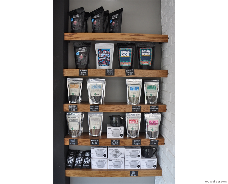 There's also a retail shelf if you want some coffee (or tea) to have at home.