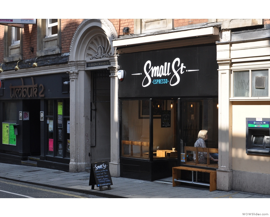 Small Street Espresso, now with a bench outside, looks far better on a sunny spring day than it did on a gloomy winter's one!