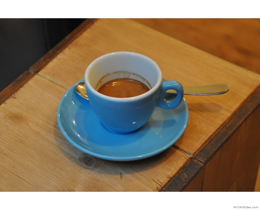 Now, to business. My espresso. One of the best I've had in a long while.