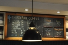 A rather poor shot of the menu, with the four filter choices chalked on boards to the right.