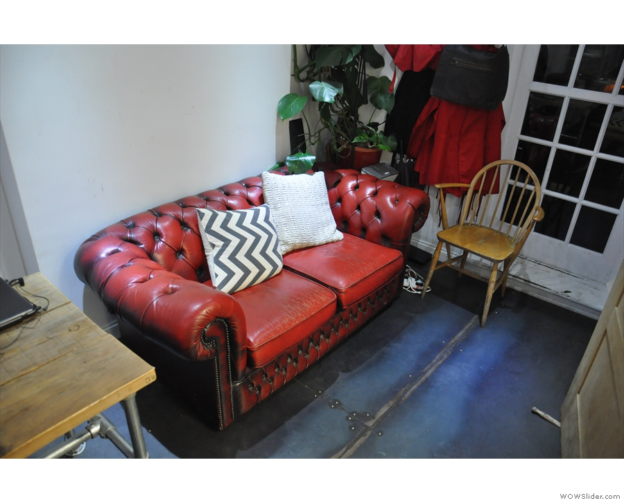 Right at the back, opposite the stairs, is the sofa we first saw. Will that survive I wonder?